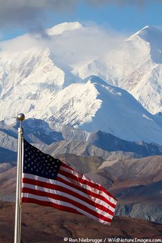 American flag with Mt. McKinley from the Eielson Visitor Center, Denali National Park, Alaska