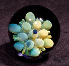 1.93 inch Fumed Mandala Flower with opal Borosilicate marble