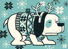 Reindeer Dog // Holiday Cards // Pack of Printmaking, Reindeer, Holiday Cards, Screen Printing, Snoopy, Lino Cuts, Graphic Design, Handmade Gifts, Dogs