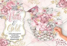 Watercolor Pink and Gold design by designloverstudio on @creativemarket