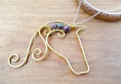 Gemstone Horse Necklace handmade pendant with Ruby Fuschite beads wire wrapped brass animal country western jewelry
