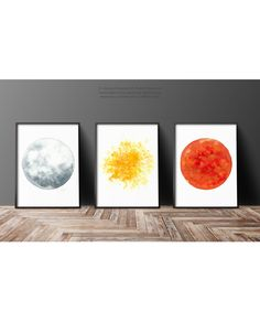 Silver Moon, Yellow Star, Red Orange Sun Watercolor Painting Set 3, Astronomy Print, Space Craft Three Art Prints, Gray Planet Wall Decor by ColorWatercolor on Etsy https://www.etsy.com/listing/264024925/silver-moon-yellow-star-red-orange-sun