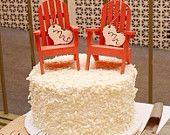 Beach Chair- Adirondack Cake Topper- Mr. & Mrs . I DO/coral chairs/beach wedding/fall wedding/autumn wedding