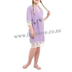 Gorgeous cotton robes with gorgeous lace trim. Flower Girl Robes, Lace Flower Girls, Kids Robes, Satin Shoes, Gifts For Wedding Party, Lace Trim, Lilac, Cover Up, Dressing
