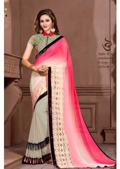 couleur grise georgette saree, - 81,00 €, #SariIndou #RobeBollywood #LaModeExclusive #Shopkund