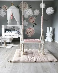 How pretty is this little girl's room by Stine S.moi 👈🏻 Shop Miffy lamp via the link in our bio 💕 . Baby Bedroom, Baby Room Decor, Nursery Room, Girl Nursery, Girls Bedroom, Nursery Decor, Bedroom Decor, Swing In Bedroom, Room Swing