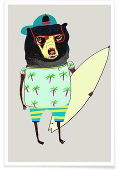 Bear Surfer als Premium Poster