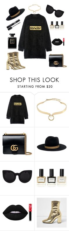 """""""Gold and Black Sweater Dress"""" by mississippimsu ❤ liked on Polyvore featuring Alexander Wang, Alexis Bittar, Gucci, Janessa Leone, Christian Dior, Balmain, Lime Crime and River Island"""