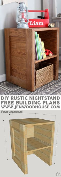 How to build a DIY rustic nightstand. Free building plans by Jen Woodhouse.
