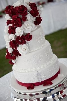 Wedding Cakes with Roses | Red Rose Wedding Cake Sharyn's Cake