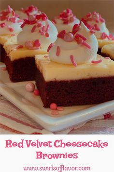 Red Velvet Cheesecake Brownies is an easy recipe that combines two favorite desserts, brownies and cheesecake. A homemade red velvet brownie cake is topped with a creamy cheesecake batter and baked to perfection. Just in time for Valentine's Day! #swirlsofflavor Red Velvet Cheesecake Brownies, Low Carb Cheesecake, Raspberry Cheesecake, Brownie Cake, Cheesecake Recipes, Dessert Recipes, Dessert Bars, Dessert Ideas, Oreo Cheesecake