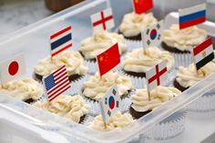 Flag cupcakes for International School Party!