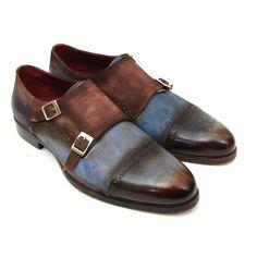 Paul Parkman Men's Captoe Double Monkstrap Antique Blue & Brown Suede (ID#045AN14)