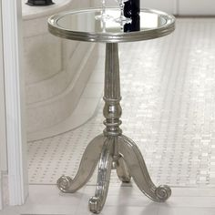 Side Table with Mirror Top.