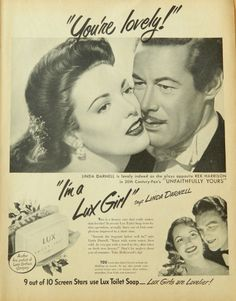 Lux Soap, Linda Darnell  Rex Harrison - movie star ads, couple kissing, romantic print, Unfaithfully Yours, Vintage Ad or Wall Art. $8.00, via Etsy.