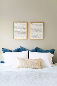 watercolor calligraphy wedding vows in the master bedroom