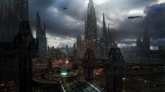 rhubarbes:  ArtStation - Sci-fi city scape concept art - class demo, by James PaickMore concept art here.