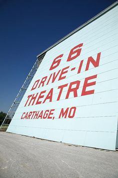 Route 66 Drive-In Theatre. Classic outdoor movie theater in Carthage, MO. Opened in 1949, this theater was closed for many years before being restored and reopened in the late 1990's.