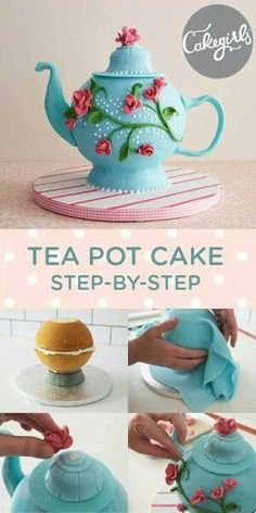 Impress your guests with this tea pot cake made from a ball shaped baking pan. Step-by-step instructions make this sculpted teapot cake easy to execute and a perfect dessert for your next tea party. Fancy Cakes, Cute Cakes, Cake Decorating Tutorials, Cookie Decorating, Cake Decorating Supplies, Decorating Ideas, Decor Ideas, Fondant Cakes, Cupcake Cakes