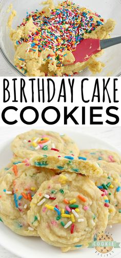 Birthday Cake Cookies are soft vanilla cookies with lots of sprinkles! This simple cookie recipe tastes like your favorite birthday cake in cookie form. Easy No Bake Desserts, Easy Baking Recipes, Best Cookie Recipes, Easy Desserts, Delicious Desserts, Vanilla Cookies, Chocolate Chip Cookies, Cookie Cake Birthday, Brithday Cake