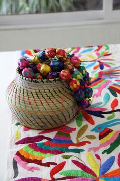 Amazing Multi colored one of a kind Hand Embroidered Otomi Table runne – Casa Otomi Mexico, Tenango, mexican wedding, textile, mexican suzani, suzani, embroidery, hand embroidered, otomi, , otomi, table runner, fiber art, mexican, handmade, original, authetic, textile , mexico casa, mexican decor, mexican interior, frida, kahlo, mexican folk,  folk art, mexican house, mexican home, puebla collection, las flores, travel tote, boho, tote, handbag, purse, cushion, pillow, gift basket