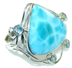 $78.85 Morning Star!! Light Blue Larimar Sterling Silver Ring s. 11 at www.SilverRushStyle.com #ring #handmade #jewelry #silver #larimar