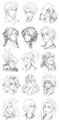 Fourth batch of headshot commissions. More info here: Head Sketch Commissions Open 150914 - Headshot Commissions Sketch Dump 4 Anime Drawings Sketches, Anime Sketch, Manga Drawing, Manga Art, Art Drawings, Fantasy Character Design, Character Drawing, Character Inspiration, Character Concept