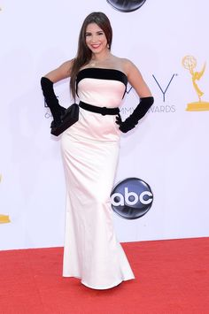 Emmy Awards 2012: Mayra Veronica opted for a chic black and white palette.  #Emmys