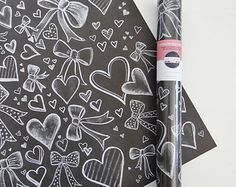Chalk Art Wrapping Paper - Hearts and Bows Gift Wrap - Unique Wrapping Sheets - Chalkboard Art - Valerie McKeehan Illustration
