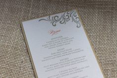 Gold flourish wedding menu by http://alhdesigns.com