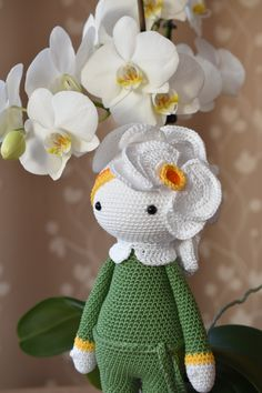 Crochet flower doll Orchid Ollie made by Regina H - crochet pattern by Zabbez