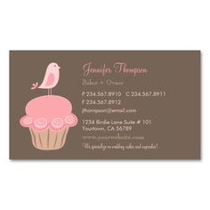 Wedding birthday cakes business card template business card bird and cupcake business card reheart Gallery
