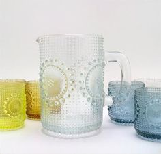 Grapponia glassware by Nanny Still (for Riihimäen Lasi, Finland). It's from made in many lovely colors.
