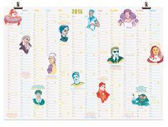 Wandkalender 2016 »Kragen tragen« von Illustrationen von Silke Müller auf DaWanda.com
