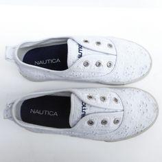 Nautica Girls White Eyelet Laceless Slip On Sneakers Size 1 - EUC! #Nautica #Athletic #Girls #Kids #Youth #Shoes #White #Eyelet #Laceless #SlipOn #Sneakers #FashionSneaker