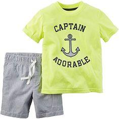 Petit Lem Cute Captain Seagull Shorts Set