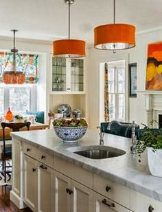ciao! newport beach: decor - pop of orange. love the white walls with all the color