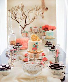 very pretty bridal shower dessert table