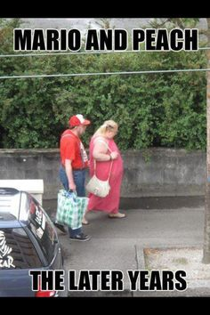 Mario and Peach have let themselves go.