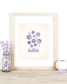 Baby Girl Nursery Art Print - Cute as a Button Digital Art Print 8x10, Purple Sewing and Buttons Theme, Watercolor Typography on Etsy, $20.00