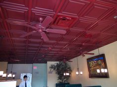 These Stratford Merlot Ceilume Ceiling Tiles add so much character to this California Italian restaurant! Ceiling Materials, Ceiling Tiles, Restaurant Design, Ceilings, California, Character, Ceiling, Cornice Boards, The California