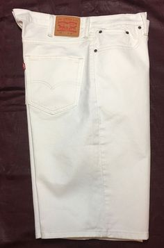 Levi's 569 White Denim Shorts 38 White Loose Straight Fit Levi Strauss #Levis #Loose