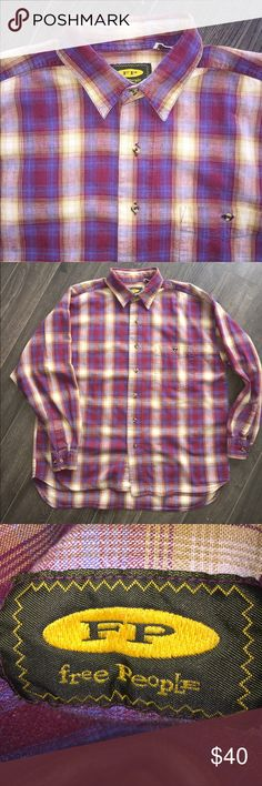 Free people men's shirt Free people men's shirt, XL, you'll be stylin in this real nicely made free people plaid 👚 ashirt Free People Shirts Casual Button Down Shirts