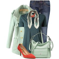 Teal, Mint and Coral by pippimommy on Polyvore featuring мода, The Row, MANGO, Coach and Balenciaga