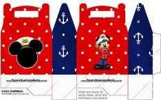 Mickey Marinero: Cajas para Imprimir Gratis. Birthday Themes For Boys, Kids Party Themes, Boy Birthday Parties, Birthday Party Decorations, Sailor Party, Mickey Clubhouse, Box Invitations, Paper Purse, Diy Gift Box