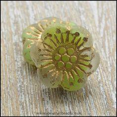 Czech Glass Anemone Flower Beads - Lime Soda