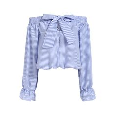 SheIn(sheinside) Boat Neck With Bow Vertical Striped Blue Top (66 BRL) ❤ liked on Polyvore featuring tops, blouses, shirts, crop tops, blue, striped sleeve shirt, off the shoulder shirts, long sleeve blouse, long sleeve shirts and long-sleeve crop tops