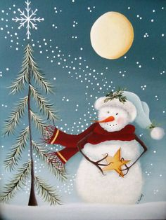Wish Upon a Star Whimsical Snowman Tole Painting Pattern - DIY and Crafts Christmas Canvas, Christmas Paintings, Christmas Snowman, Christmas Projects, Holiday Crafts, Christmas Time, Christmas Ornaments, Snowmen Paintings, Christmas Ideas