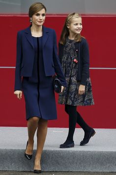 Queen Letizia of Spain and Leonor, Princess of Asturias attend the National Day Military Parade on October 12, 2015.
