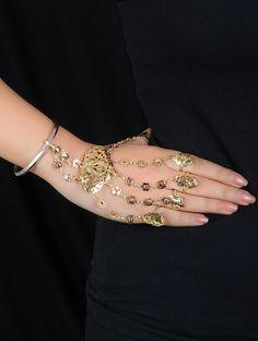 Ethno Gold Tone Silver Hathphool Sterling Jewelry, Bridal, Diamond, Bracelets, Silver, Pink, Gold, Stuff To Buy, Fashion